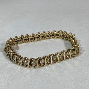 Diamond Tennis Bracelet- Diamond & Gold